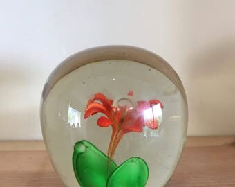Vintage Paperweight Clear with Orange Flower Green Leaves Ground Base