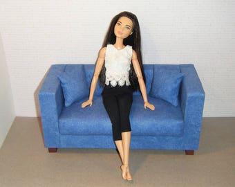 Doll Furniture Sofa and Pillows - Barbie Momoko, Blythe, Pullip, Fashion Dolls - 1:6 Playscale Living Room Diorama - Denim Blue