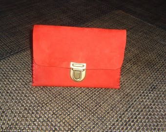 Small red cow leather pouch