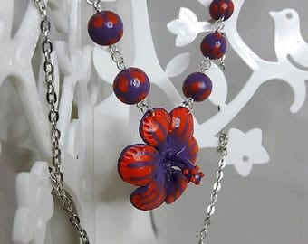 Orange and purple flower polymer clay necklace