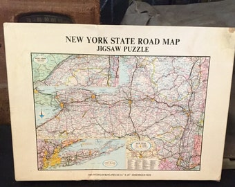 Vintage New York State Map Jigsaw Puzzle - 1972 Gameophiles - 500 Pieces