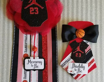Jordan Baby Shower Corsage/ Mommy To Be/ Daddy To Be/ Jordan Baby Shower