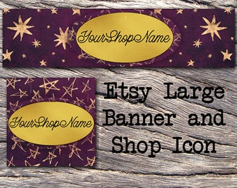 GOLD STAR VELVET Etsy Large Banner & Shop Icon- Cover Photo-Premade Etsy Set-New Age Etsy-Wizard Large Cover-Purple-Natural Healing