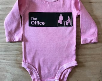 The Office Screen Printed Baby Bodysuit//Hand Dyed//Baby Shower Gift//Gender Neutral