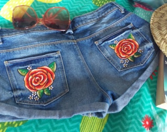 Hand painted festival shorts