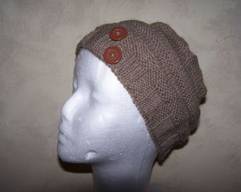 hand knitted alpaca and wool hat