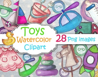 Watercolor baby toys clipart, Cute rabbit and toys clipart. Kids toys clip art.