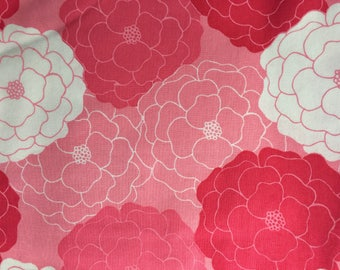 Pink Floral Fabric, Bright Pink Oriental Floral Cotton, Floral cotton fabric, pink nursery fabric, girl fabric