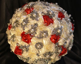 "FULL PRICE!!!Ready to Ship 9""Satin Roses Bridal Pearl Brooch Bouquet PLUS Combo Discount"