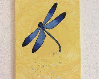 Wall Art, Dragonfly Painting, Blue Dragonfly w/Yellow Swirled Background, Canvas Painting, 12 X 9