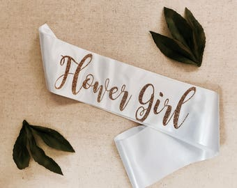 Flower Girl, glitter sash, bachelorette party sash, bridal party sash, hen party sashes, wedding party