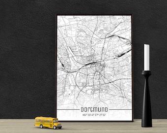 Dortmund-Just a map-din A4/A3-Print