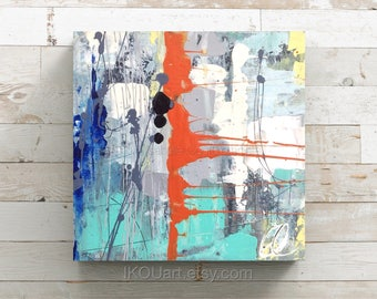 "Small abstract paint, Canvas, wall art, colourful, abstract painting, abstract painting, abstract decor, gift, 8 ""x 8"" x 1, 5 """