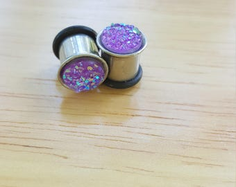 Druzy Plugs, 0g Metal Tunnel Plugs, Purple Druzy Plugs, 8mm Metal Tunnel Plugs, 0g Flare plugs, Stainless Steel 0g plugs, Druzy Body Plugs