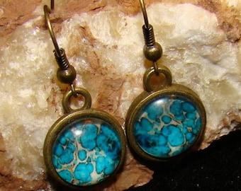Blue Oil Hook Earings