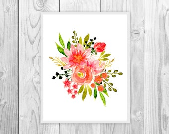 Watercolor Floral Print / Watercolor Floral / Watercolor Flower Print / Waterolor Art Print / Instant Download Print