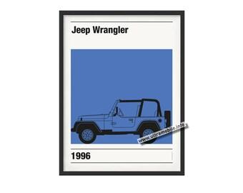Graphic poster Jeep Wrangler theme