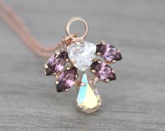 Crystal Bridal necklace, Rose gold necklace, Bridal jewelry, Pendant necklace, Bridesmaid necklace, Simple necklace, Swarovski necklace