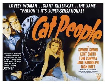 Cat People Movie Poster Art - Vintage Print Art - Home Decor - Movie Theater Poster