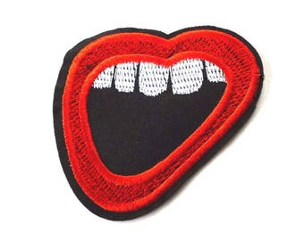 Open Mouth Iron on Patch, Mouth Patch, Red Lips Patch, Mouth Appliqué, Lips Patch, Clothes Patch - H1557