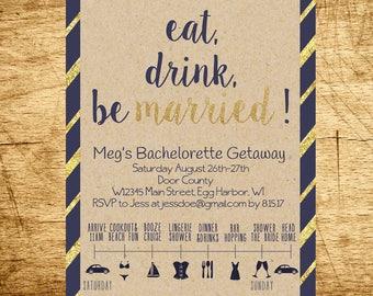 Bachelorette Party Invitation, Bachelorette Party Timeline Invitation, Bachelorette Party Weekend Invitation, DIGITAL, PRINTABLE