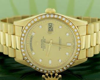 Rolex President Day-Date 18K Yellow Gold Factory Diamond Dial Double Quick 36MM w/Diamond Bezel