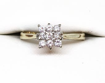 Vintage Diamond Cluster Engagement Ring 18ct, Diamond Engagement Ring, Anniversary Gift, Valentine's Day Gift, Free Shipping
