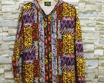 Vintage SUNDEK Surf Windbreaker Jacket Hoodie Colorful Fullprint Surf Hawaiian Ocean Pacific