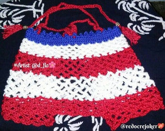 Knit Swimsuit Cover- Knit Top for a Toddler- Patriotic Toddler Top- Knit Beach Wear- Toddler Gifts- Crochet Toddler Top- 4th of July- Girls