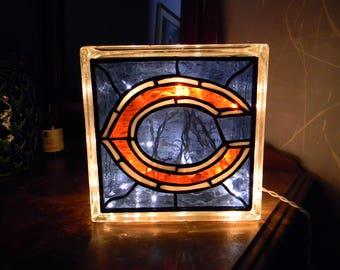 Chicago Bears Football Reclaimed Glass Block Light/Nightlight Leaded Stained Glass