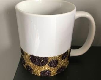 Giraffe Print Glitter Mug