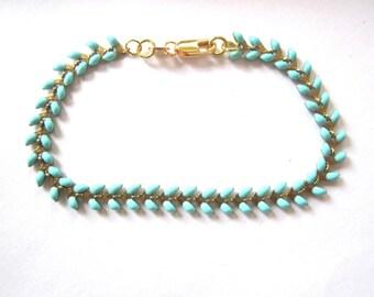 Turquoise spike chain bracelet