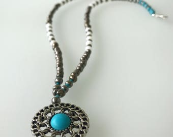 Silver, white & turquoise aqua beaded pendant necklace
