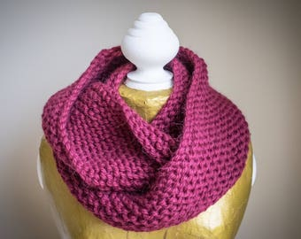Lily handknitted snood in Wine Purple