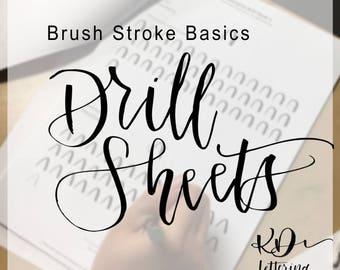 Brush Lettering Drill Sheets - Stroke Development