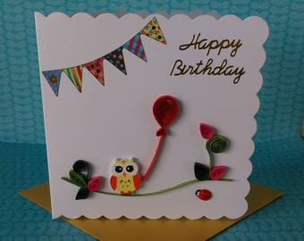 Quilled Happy Birthday Card. Quilled Card. Birthday Card. Blank Card.