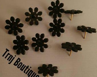 Black Flower Board Pins