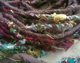 Recycled Fabric Art Yarn-handmade hand spun fabric autowrapped chunky rug yarn macrame multicolored textured