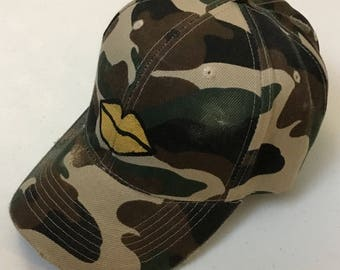Gold Lips Army Hat