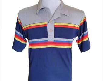 Hot Sale!!! Rare Vintage 80s OCEAN PACIFIC RAINBOW Multicolor Polo Surfing Shirt Hop Skate Swag Surf Medium Size
