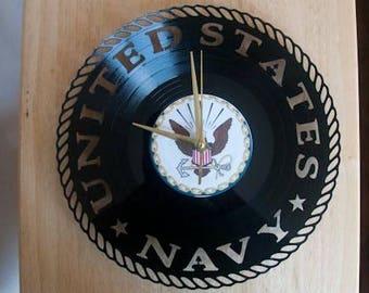 Navy inspired vinyl record clock ** FREE SHIPPING**