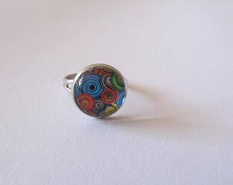 Psychedelic pattern glass cabochon Adjustable ring