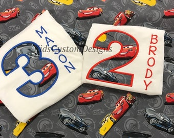 Embroidered Cars 3 Movie lightning mcqueen jackson storm Cruz Ramirez cars birthday shirt  ANY AGE
