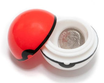 Pokemon Pokeball Small Silicon Container BUY 2 GET 1 FREE! Airtight Ball, Stash Case Great for Small Jewelry, Coins etc.