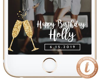 INSTANT DOWNLOAD Snapchat Filter Birthday Snapchat Geofilter Birthday Geofilter Snapchat Birthday Party Gold Glitter Filters Templett