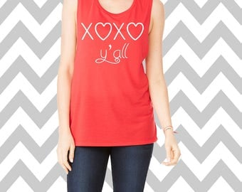 XOXO Y'all Valentines Day Muscle Tank Top Brunch Tank Top Mom Tank Top Love Tank Shirt Gym Tank Top Hugs and Kisses Gym Tee Wine Shirt