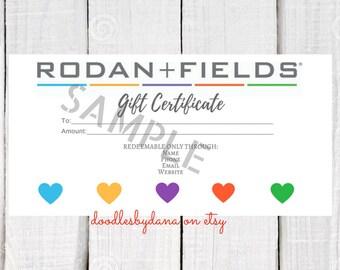Rodan and Fields Gift Certificate - Digital - Printable - Rodan & Fields - Hearts