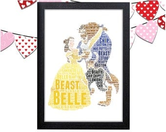 Personalized Gift Beauty And The Beast Wall Art Wall Prints Wall Art Wall Decor Gift For Her Personalised Gift Belle Dress Wall Art Prints