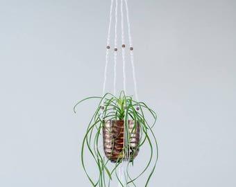 Flower pot hanging copper metal, hanging macrame planter H1m14