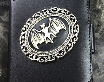 Victorian Bat Cameo Leather Wallet Case for iPhone 6/6s
